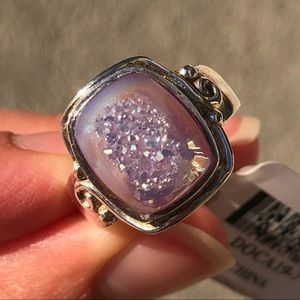 Jewelry - Blue drusy cushion STERLING silver ring JTV